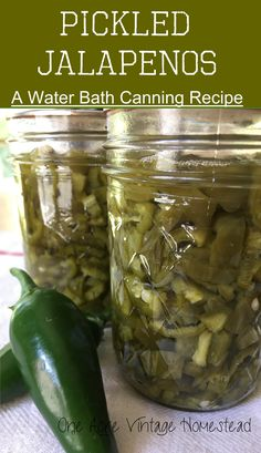 A very simple and fast way to preserve Pickled Jalapeno Peppers: A Water Bath Canning Recipe from One Acre Vintage Homestead #waterbathcanning #jalapenosfromthegarden