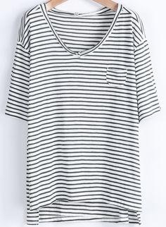 Green White Striped Short Sleeve Dipped Hem T-Shirt - Sheinside.com