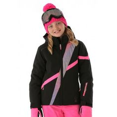 Spyder Girls Tresh Jacket (Black/Pure Linear Gradient Print/Bryte Bubblegum)