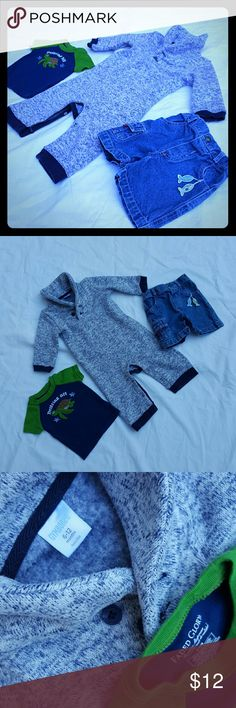 ☆Fish On! Shorts & Gymboree Onesie! 6-9 Mos.☆ ☆25% off Bundles! Cutest ever dangling fish out-of-pocket shorts, awesome Gymboree sweatshirt fabric onesie & a very cute Faded Glory t-shirt. All in excellent used condition! Very cute! Enjoy!☆ Gymboree One Pieces