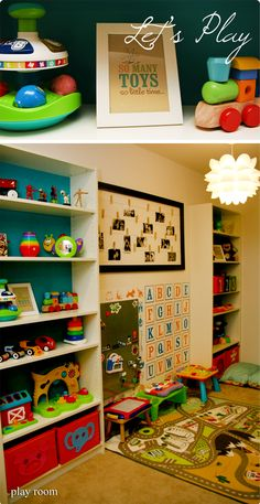 I love the idea of the organization for the toys on the book shelves. I, also, love the frame of the photos of the family that looks like it is connected by clothes pins.