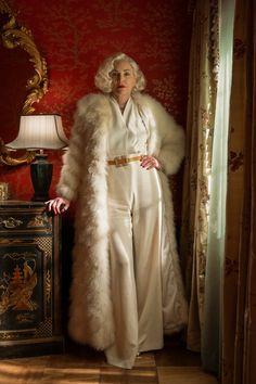 Sharon Stone, Madonna, American Horror Story, Hunger Games, White Fur Coat, Strong Shoulders, Basic Instinct, Navy Blue Dresses, Looks Style