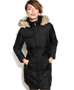 DKNY Hooded Faux-Fur-Trim Quilted Long-Length Down Coat - Coats - Women - Macy's