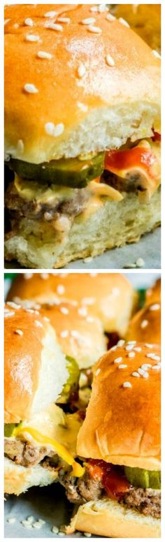 Copycat Big Mac Sliders ~ An easy appetizer recipe filled with beef, cheese, and McDonald's Big Mac sauce!
