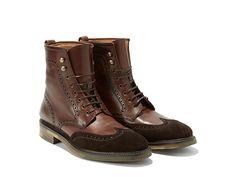 S Ferragamo-8 eyelet wingtip boots