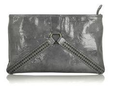 grey patent leather clutch purse