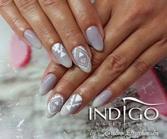 by Karolina Orzechowska Indigo Educator Gdańsk ! Follow us on Pinterest. Find more inspiration at www.indigo-nails.com #nailart #nails #indigo #grey #white