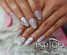 by Karolina Orzechowska Indigo Educator Gdańsk ! Follow us on Pinterest. Find more inspiration at www.indigo-nails.com #nailart #nails #indigo #grey #white