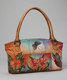 Hand painted floral tote