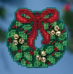 Mill Hill Jingle Bell Wreath - Beaded Cross Stitch Kit. Kit Includes: Beads, bells, 14 ct perforated paper, floss, needles, magnet, chart and instructions. Fini