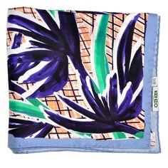 a78fc328a Kenzo Scarf Purple Blue Green Peach Floral Design Twill Silk Square Scarf