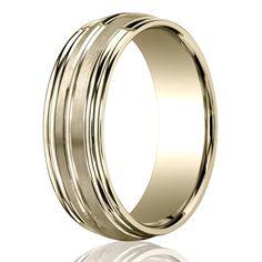 14K #Gold Benchmark 7.5mm Comfort-Fit Double Round Edge Carved Design Band #Wedding #Band #weddingband #ring #25karats