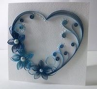 Paper Quilling - Blue Heart with flowers & pearls. Quilling Paper Craft, Quilled Paper Art, Paper Crafts, Diy Crafts, Quilling Tutorial, Quilling Patterns, Quilling Designs, Bordados E Cia, Quilled Creations