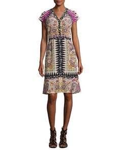 Paisley+Floral-Trim+V-Neck+Flounce+Dress,+Fuchsia+by+Etro+at+Neiman+Marcus.