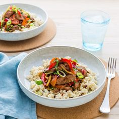 Mongolian Lamb Stir-Fry with Brown Rice Stir Fry Recipes, Rice Recipes, Cooking Recipes, Healthy Recipes, Healthy Food, Lamb Stir Fry, Mongolian Recipes, Asian Stir Fry, Brown Rice