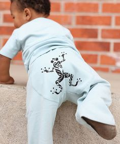 Take a look at this Light Blue Funky Frog Pants - Infant on zulily today!