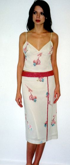 Banded  Piped Slim ALine Skirt in Ivory by speakeasyboutique, $78.00