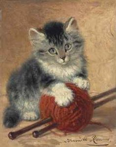 Henriette Ronner-Knip (Dutch, 1821-1909)  A kitten with a ball of wool  signed 'Henriette Ronner.' (lower right)  oil on panel  8 x 6¼ in. (20.3 x 15.8 cm.) private collection