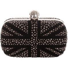 Alexander McQueen Black Suede Bubble Stud Britannia Skull Box Clutch ($1,895) ❤ liked on Polyvore