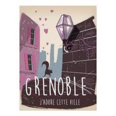 Affiche vintage de voyage de Grenoble France