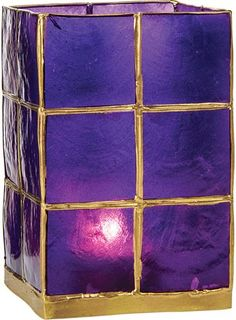 Tall Plum Purple Capiz Candle Holder (gold edged) #PC05PL