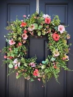 Spring Wreath Spring Door Wreath Coral Wreaths Greenery Wildflower Wreath New Home Wreath Housewarming Gift Birthday Gift Spring Decor Spring Door Wreaths, Pink Polka Dots, Coral Color, Pink Yellow, Grapevine Wreath, Grape Vines, House Warming, Greenery, Birthday Gifts