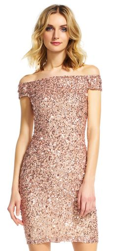 Adrianna Papell | Off the Shoulder Sequin Beaded Dress