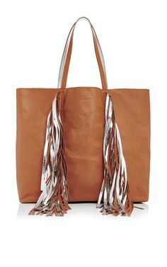 Fringed leather everyday shopper in cognac and silver by SARA BATTAGLIA Now  Available on Moda Operandi 3779688610c