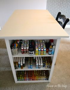 craft-table-8.jpg 600×775 pixels Craft Room Storage, Craft Organization, Craft Rooms, Paint Storage, Organisation, Sewing Spaces, Sewing Rooms, Atelier D Art, Space Crafts