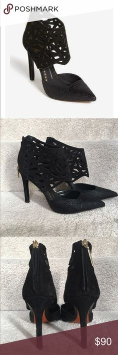 """Dolce Vita Kadyn Pumps Geometric cutouts sharpen the angular impact of a mixed-media pump with a squared-off topline and snake-embossed gloss. 4"""" heel (size 8 1/2). Back zip closure. Leather and suede upper/leather lining and sole. Only worn twice. Amazing shoe and hard to find! Dolce Vita Shoes Heels"""