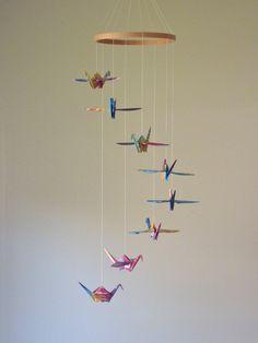 Origami Crane Mobile - Baby Mobile - Children Decor - Eco Friendly - Nursery Home Unique Rainbow Tie Dye Birds Kids Teen. $28.00, via Etsy.