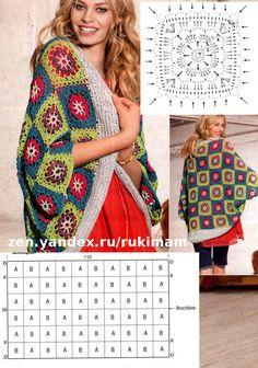Crochet Squares, Crochet Granny, Knit Crochet, Crochet Designs, Knitting Designs, Crochet Patterns, Crochet Jacket, Crochet Cardigan, Granny Square Poncho