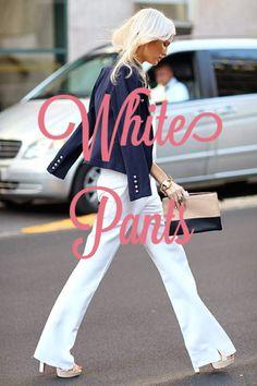 #Spring2014 Trend :  White Wide Leg Pants  #WhitePants