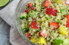 Springtime will be here faster than you know it. This strawberry mango quinoa salad is a light and healthy dish that welcomes springtime flavors. Since strawberries are not in season yet, you can substitute with orange segments until the berri