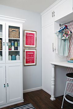 IHeart Organizing: All Filled Up! | paint cabinet & laundry signs