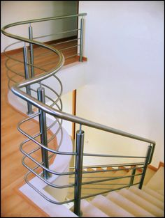 Inox Algarve www.cbi-lda.com geral@cbi-lda.com Steel Railing Design, Modern Stair Railing, Staircase Railings, Modern Stairs, Staircases, Stainless Steel Stair Railing, Steel Handrail, Steel Stairs, Door Design