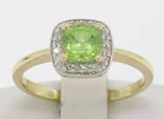 NEW 14k Solid Gold Cushion Petite Green Peridot Ring w/ Pave Diamond Halo #Unbranded #SolitairewithAccents