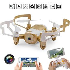 Mini RC Quadcopter Drone 24GHz 6Aaxis Gyro Headless WIFI FPV RC Helicopter Drone with HD Camera Gold ** More info could be found at the image url.