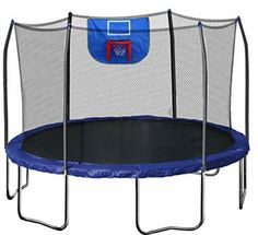 12' Round Trampoline With Safety Net And Basketball Hoop No-Gap Enclosure Garden…