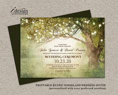 Rustic Woodland Wedding Invitation With String Lights. Perfect For a Tree, Garden, Backyard Or Country Themed Wedding. By iDesignStationery On Etsy.
