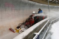 A man clears the Monobob track at the Lillehammer Olympic Sliding Center during the Winter Youth Olympic Games Lillehammer Norway @arntfolvik @lillehammer2016 #iLoveYOG