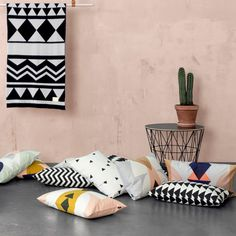 Ferm Living Ethno Graphic Cushion Pantone Color of the Year 2016 Rose Quartz SS16