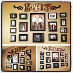 Family photo collage. I like the different style frames tied together using the same color.