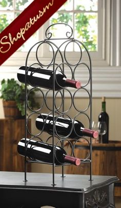 Black Metal Display Stand Grand Wine Rack Holder Stand