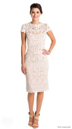 2016 bridal rental tadashi shoji elizabeth lace short wedding dress cap sleeves,see more on JDsbridal.com
