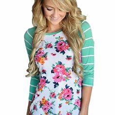 Sunward(TM) Women Floral Letters Long Sleeve Round Neck Shirt - http://www.darrenblogs.com/2016/11/sunwardtm-women-floral-letters-long-sleeve-round-neck-shirt/