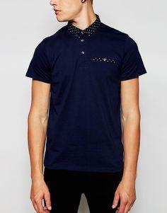 Image 3 ofJack & Jones Polo Shirt With Polka Dot Woven Collar