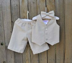 Baby boy linen suit ring bearer outfit boy baptism natural clothes ...