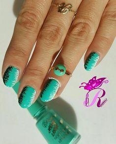 """هذه #أظافر اليوم  Mint Zigzag Nails using Flormar-Jelly Look #JL10 """"Turquoise Green"""""""