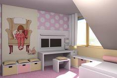 Wnętrza, Pokoik wielbicielki różu - Pierwsza wersja pokoiku 4-latki - wielbicielki różowego koloru.  Wykładzina dywanowa - juz była, wiec starałam sie ją rozjaśnić dywanikiem...
